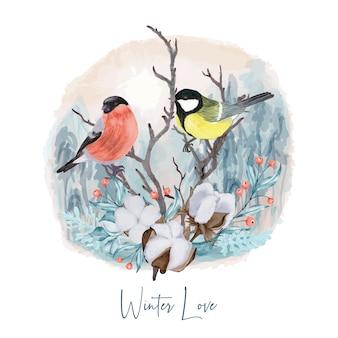 Pájaros de invierno en rama