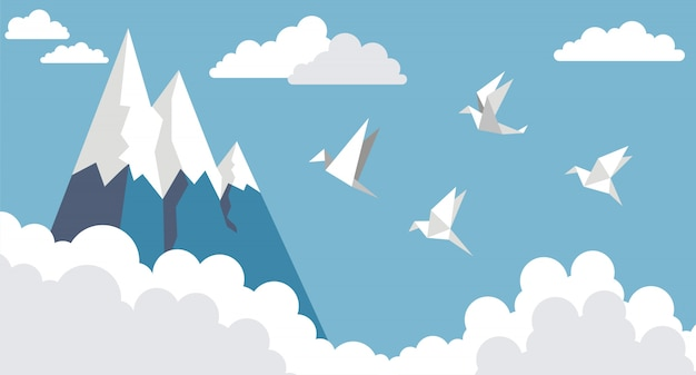 Pájaros de papel de origami, montaña y nube en el cielo azul, estilo plano