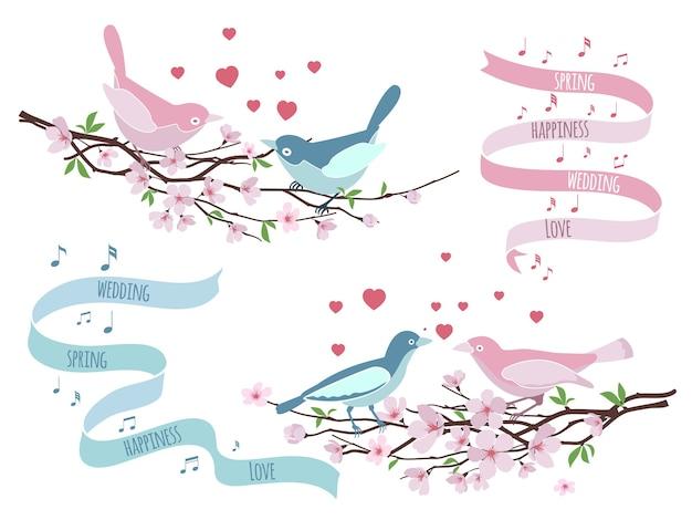 Pájaros en ramas para invitaciones de boda. decoración floral, amorosa y romántica, diseño floral. ilustración vectorial