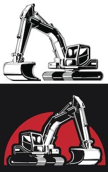 Pala de construcción excavadora retroexcavadora excavadora silueta