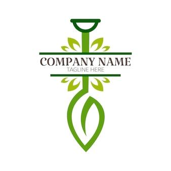 Pala con plantilla de logotipo de diseño de hojas. ilustración de vector de icono de agricultura y jardinería