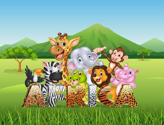 Palabra áfrica con dibujos animados de animales salvajes