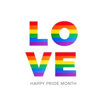Palabra de amor con la bandera del orgullo gay