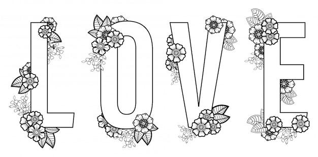 La palabra amor con decoraciones de flores mehndi en estilo étnico oriental, india. ornamento del doodle delineando una ilustración de un dibujo a mano.