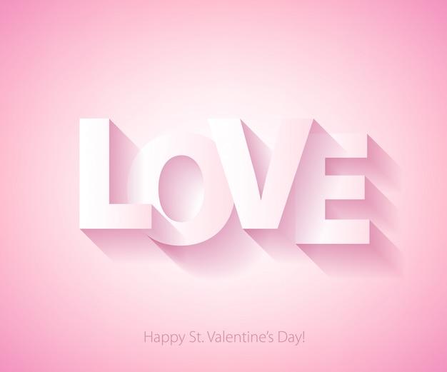 Palabra de amor ilustración de vector de fondo de san valentín.