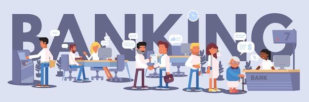 Palabra de banca con ilustración de panorama interior de banco cola en recepción hombre usando cajero automático, etc.