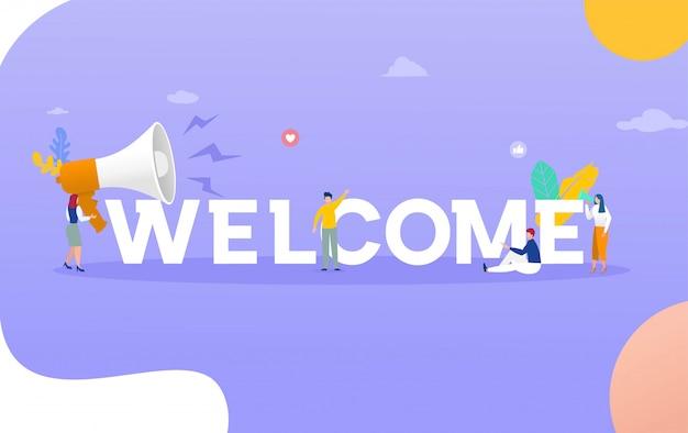 Palabra de bienvenida con concepto de ilustración de megáfono, puede usar para, página de inicio, plantilla, interfaz de usuario, web, aplicación móvil, póster, pancarta, folleto