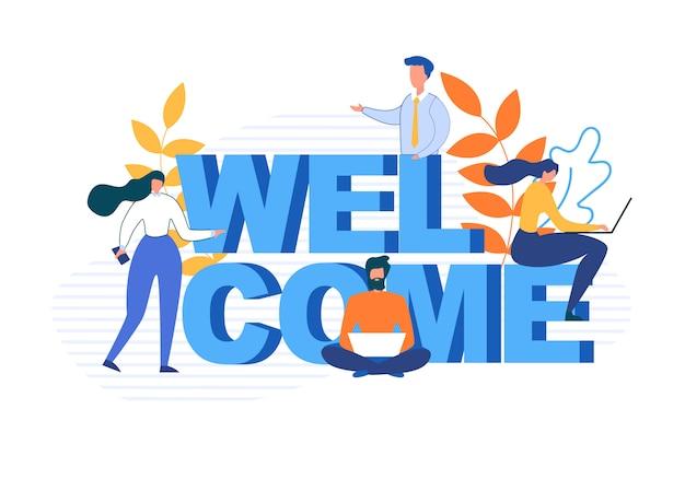 Palabra de bienvenida y personajes de dibujos animados plana personas