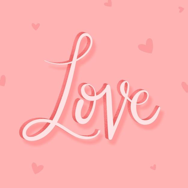 Palabra de caligrafía de amor rosa
