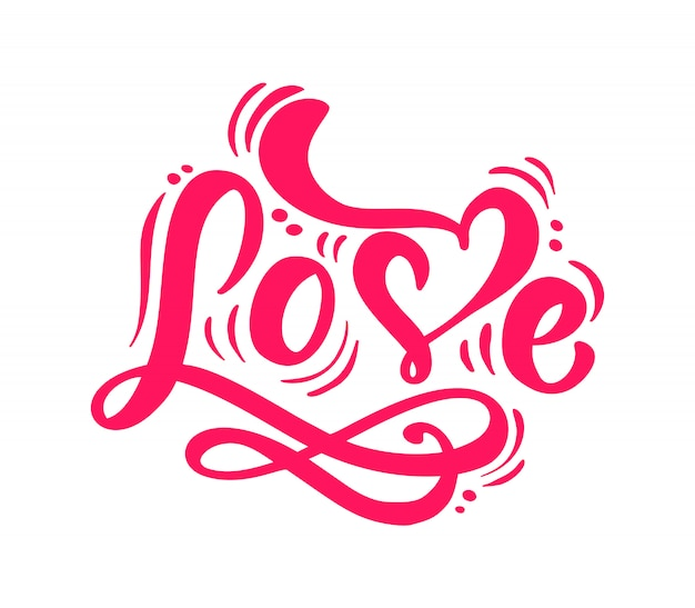 Palabra de caligrafía roja letras de amor