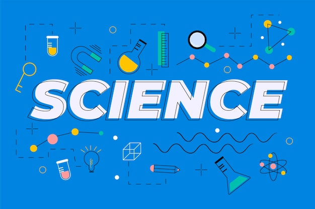 Palabra de ciencia en concepto de fondo azul