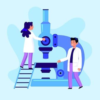 Palabra de ciencia con diseño de microscopio
