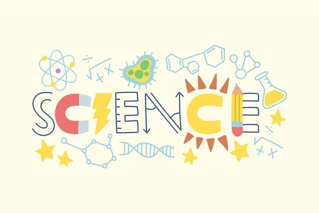 Palabra de ciencia hecha con diferentes elementos