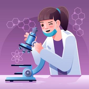 Palabra de ciencia con microscopio ilustrado