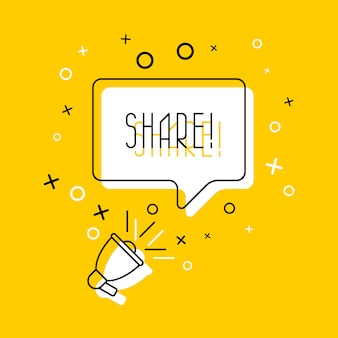 La palabra 'compartir' en el bocadillo y el altavoz sobre fondo amarillo