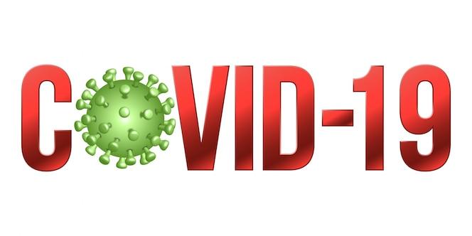 La palabra covid-19 con el icono de coronavirus, signo de concepto de coronavirus novela 2019-ncov