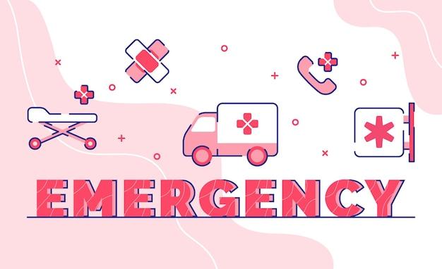 Palabra de emergencia. teléfono de vendaje de cama de ambulancia con contorno