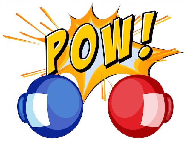 Palabra de expresión pow con guantes de boxeo