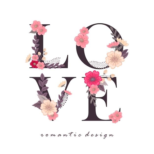 Palabra floral amor (flores, hierba, hojas). carta floral.