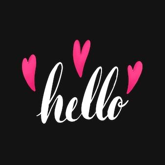 La palabra hola tipografía decorada con corazones vector