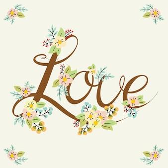 Palabra de letras de amor con diseño floral