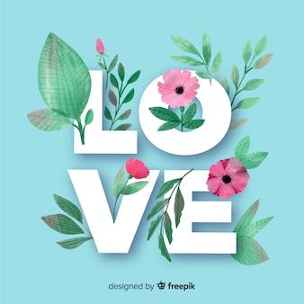 Palabra love con flores y hojas