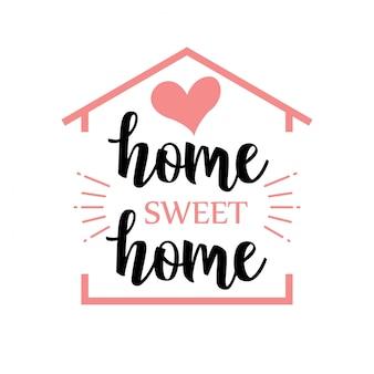 Palabra manuscrita hogar dulce hogar. ilustración vectorial
