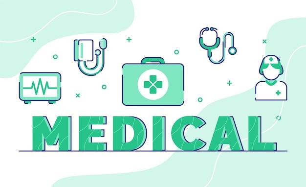 Palabra médica. maleta electrocardiograma medidor de tensión estetoscopio enfermera paramédico con estilo de contorno