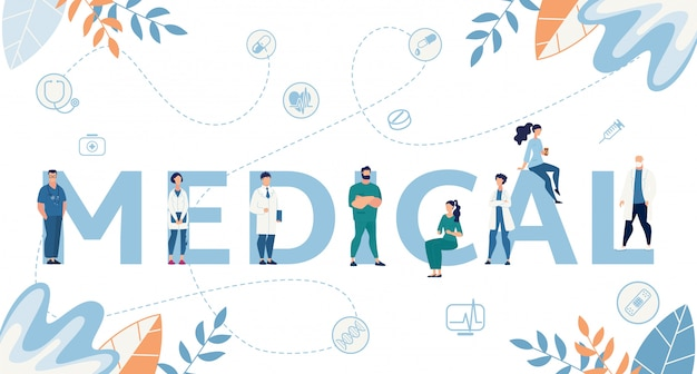 Palabra médica y minúscula caricatura médicos plana banner