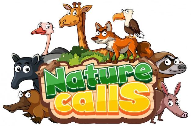 La palabra natue llama con animales salvajes