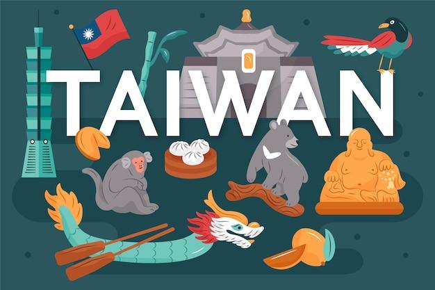 Palabra de taiwán con diseño de puntos de referencia
