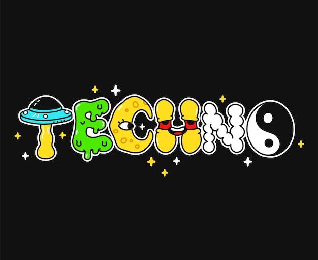 Palabra tecno, letras de estilo psicodélico trippy.ilustración de logotipo de dibujos animados de doodle dibujado a mano de vector.letras divertidas y divertidas, techno rave, fiesta, moda ácida, impresión para camiseta, concepto de cartel