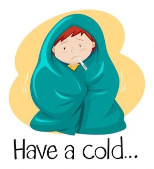 Palabra para tener un resfriado con un niño en una manta