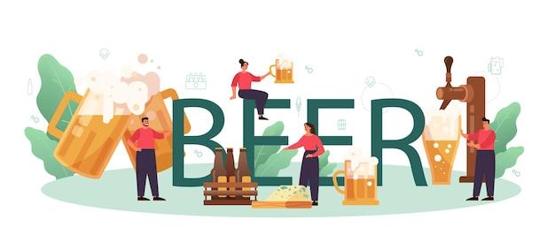 Palabra tipográfica de cerveza. botella de vidrio y taza vintage con bebida alcohólica artesanal. menú de bar o pub.