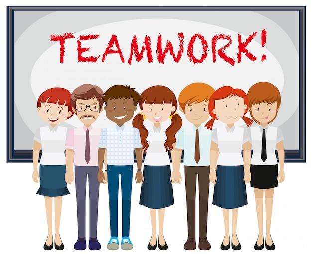 Palabra de trabajo en equipo en el tablero.