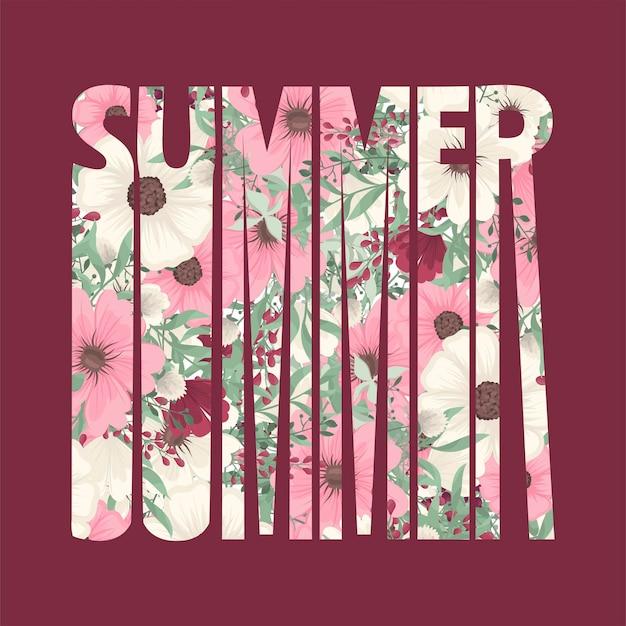 Palabra verano y letras con colores brillantes y decoración floral.