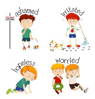 Palabras adjetivas con niño expresando sus sentimientos