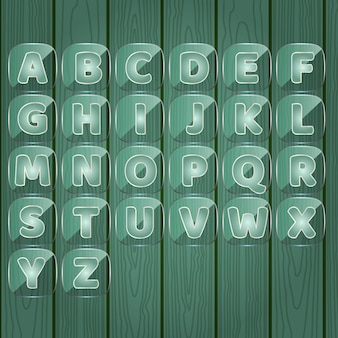 Palabras de alfabeto de la a a la z juego de placa de vidrio transparente color