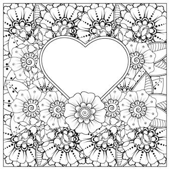 Palabras de amor con flores mehndi para colorear página de libro doodle ornamento en blanco y negro dibujar a mano ilustración