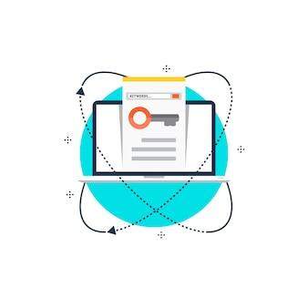 Palabras clave optimización plana ilustración vectorial diseño