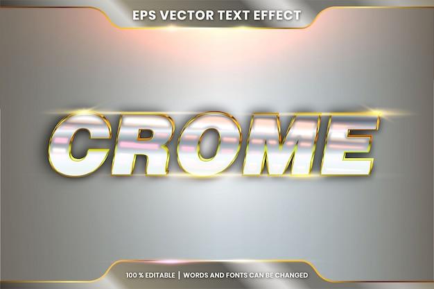 Palabras de cromo, concepto de metal de efecto de texto editable