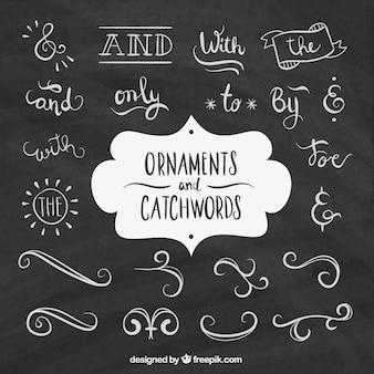 Palabras y elementos ornamentales dibujados a mano en efecto pizarra