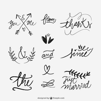 Palabras escritas a mano de la boda