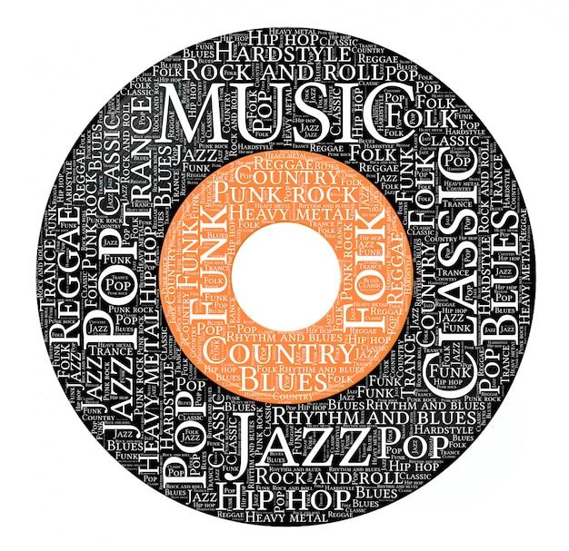 Palabras nube de música en forma de disco de vinilo.