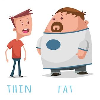 Palabras opuestas adjetivo gordo y delgado.