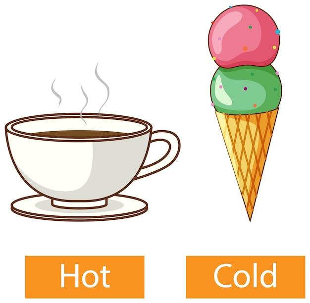 Palabras opuestas de adjetivos con frío y calor.