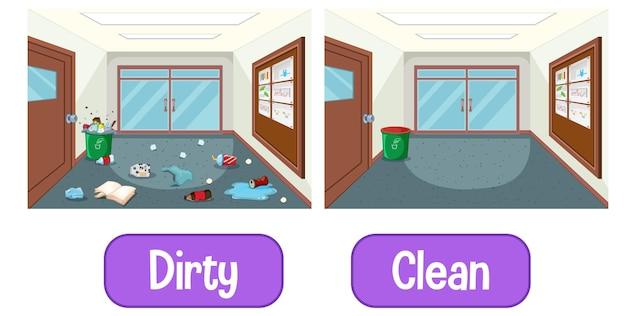 Palabras opuestas adjetivos con sucio y limpio.