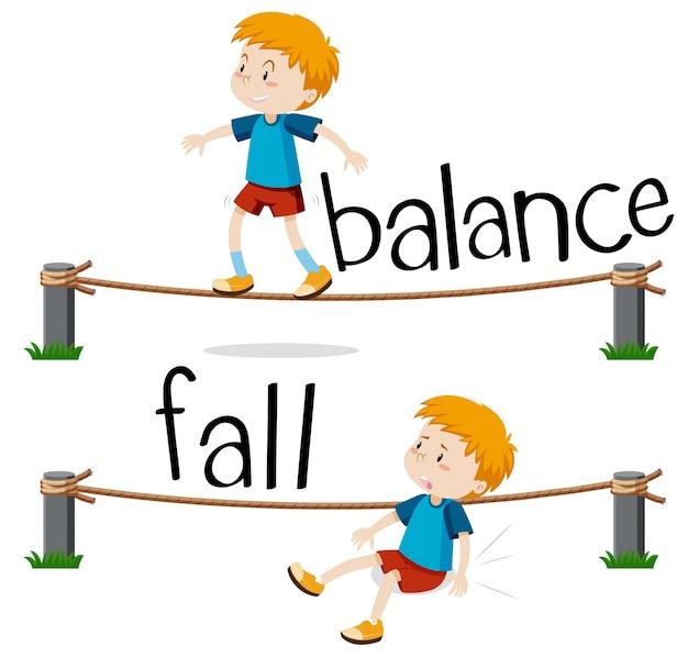 Palabras opuestas para balance y caída