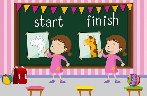 Palabras opuestas para comenzar y terminar con la niña dibujando jirafa