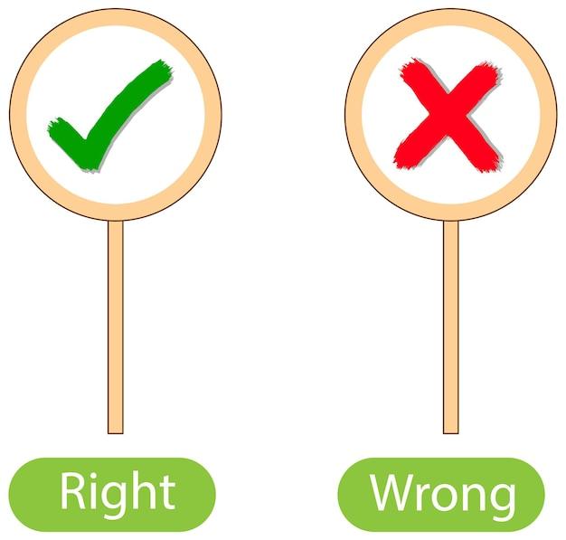 Palabras opuestas con correcto e incorrecto.